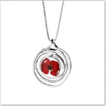 Remembrance Necklace, Poppy Collection Spiral (Optional Engraving)